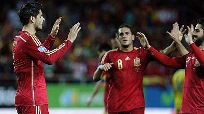 La selección española sufrió para ganar 1-0 a Ucrania, en el estreno goleador de Álvaro Morata con 'La Roja', y suma un valioso triunfo ante un rival directo en la fase de clasificación para la Eurocopa 2016 y al que ahora saca tres puntos, en un par