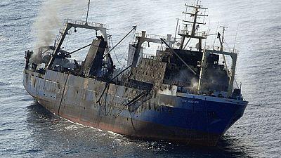 El barco ruso que el domingo sufrió un incendio se hunde a 15 millas del sur de Gran Canaria