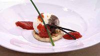 Cocina con Sergio - Huevo escalfado con morcilla y mermelada de pimiento - Ver ahora