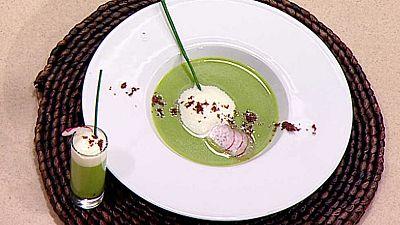 Cocina con Sergio - Crema de guisantes con espuma de azafr�n - ver ahora