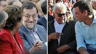 Rajoy y Sánchez piden el voto en las plazas de toros de Valencia y Cáceres