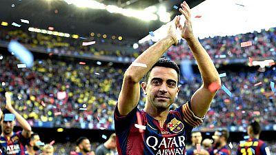El jugador del FC Barcelona Xavi Hernández Creus se ha despedido  este sábado del Camp Nou y de su afición tras anunciar el jueves su  salida del club para emprender una nueva aventura en Catar, en un  cálido homenaje preparado por la entidad para de