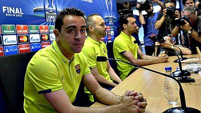 Los jugadores del FC Barcelona y el entrenador ha atendido a los medios de comunicación en el día de puertas abiertas para la prensa típico antes de encarar la final de la Champions League contra la Juventus.