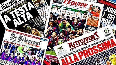 El triunfo, por 1-3, sobre el Juventus italiano que entregó al FC Barcelona la quinta Liga de Campeones de su historia y el tercer título de la temporada, tras las conquistas de la Liga y la Copa del Rey, protagoniza este domingo las portadas de los