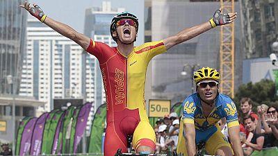 Tras colgarse el bronce en contrarreloj, Luis León ha conseguido el oro en la prueba de ciclismo en ruta en Bakú 2015.