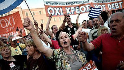 Manifestación en Atenas en apoyo del Gobierno y por el No en el referéndum
