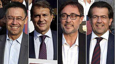 Josep Maria Bartomeu, Joan Laporta, Agustí Benedito y Toni Freixa son los candidatos que concurrirán finalmente a los comicios electorales a la presidencia del FC Barcelona, mientras que ha quedado fuera por solo 16 firmas la precandidatura de Seguim