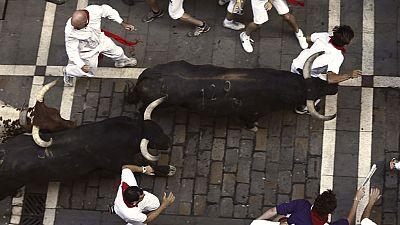Tercer encierro de San Ferm�n 2015 con toros de Victoriano del R�o