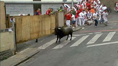 Un toro vuelve solo a los corrales de Santo Domingo en el quinto encierro de San Fermín de 2015