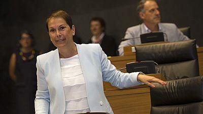 Uxue Barkos, presidenta de Navarra con los votos de Geroa Bai, EH Bildu, Podemos e Izquierda-Ezkerra