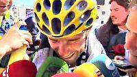 """Alejandro Valverde (Movistar) se emocionó nada más cruzar la meta del Alpe D'Huez y con el tercer puesto en el Tpur de Francia asegurado dijo que es lo que ha """"perseguido"""" toda su vida. """"Esto es muy grande, lo que he perseguido toda mi vida. He sufri"""