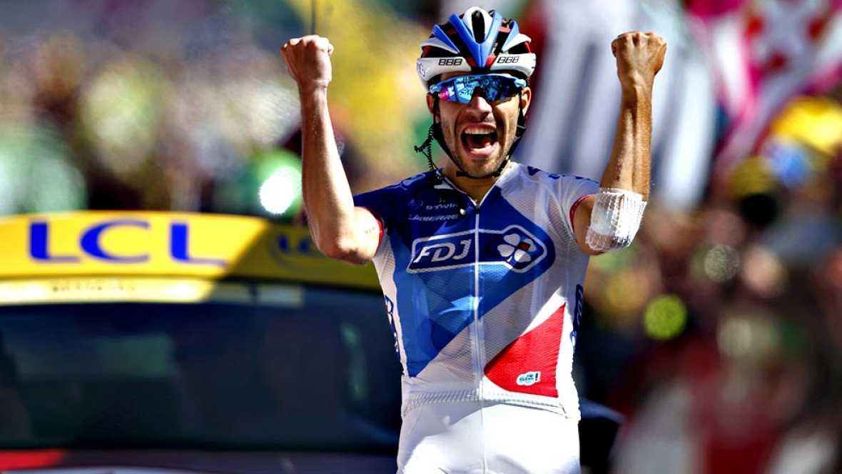 El ciclista francés Thibaut Pinot (FDJ) se ha adjudicado la  victoria este sábado en la vigésima etapa del Tour de Francia,  transcurrida entre Modane Valfréjus y Alpe d'Huez sobre 110'5  kilómetros, en una jornada marcada por el incomensurable esfue