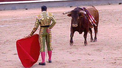 El torero Saúl Jiménez Fortes sufre una cornada en el cuello en la plaza de Vitigudino, en Salamanca
