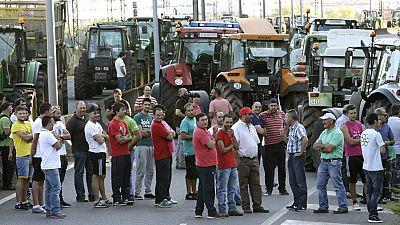 Los ganaderos gallegos protestan por el bajo precio de la leche