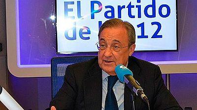 """El presidente del Real Madrid, Florentino Pérez, ha criticado los silbidos a Gerard Piqué, en una entrevista en la cadena Cope. """"No me parece bien que se pite a nadie en un estadio y mucho menos a alguien que lleva la camiseta de la selección"""", ha as"""