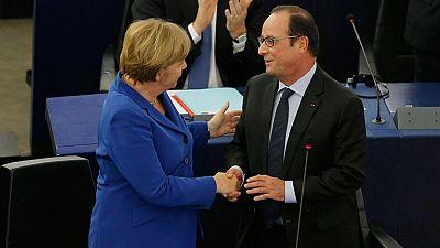 """Merkel y Hollande, ante el Parlamento Europeo: """"El nacionalismo es la guerra. Necesitamos más Europa, no menos"""""""
