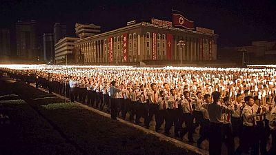 Miles de personas abarrotan Pyongyang en la conclusión de las celebraciones del  70 aniversario del Partido de los Trabajadores