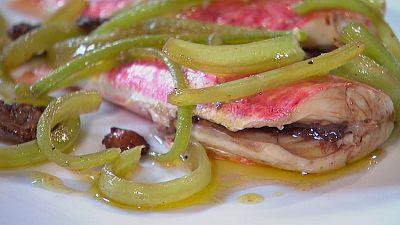 Receta de salmonete con borraja