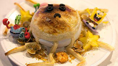 Receta de pulpo enfadado con fideos y pescado