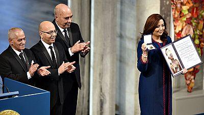 El Cuarteto para el Diálogo Nacional en Túnez recibe el premio Nobel de la Paz en una ceremonia en Oslo