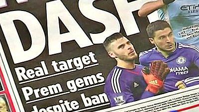 """""""El mercado de fichajes se ha convertido en un caos"""", dice la prensa deportiva británica al hacer referencia a las sanciones de la Fifa al Real Madrid y al Atlético. El gran afectado en la Premier Ligue puede ser el Manchester United."""