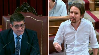 Rifirrafe entre el líder de Podemos, Pablo Iglesias, y el presidente del Congreso, Patxi López