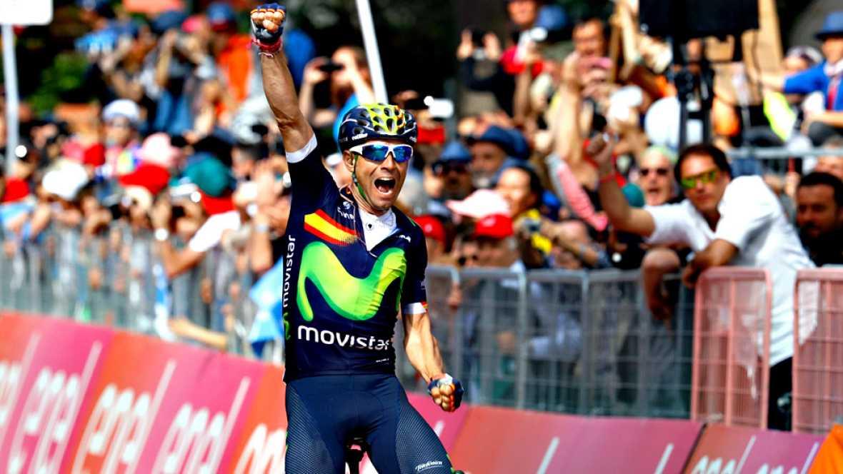 El español Alejandro Valverde (Movistar) se ha impuesto en la decimosexta etapa del Giro de Italia disputada entre Bressanone y Andalo, de 132 kilómetros, en la que el holandés Steven Kruijswijk (Lotto Jumbo) mantuvo la maglia rosa de líder.