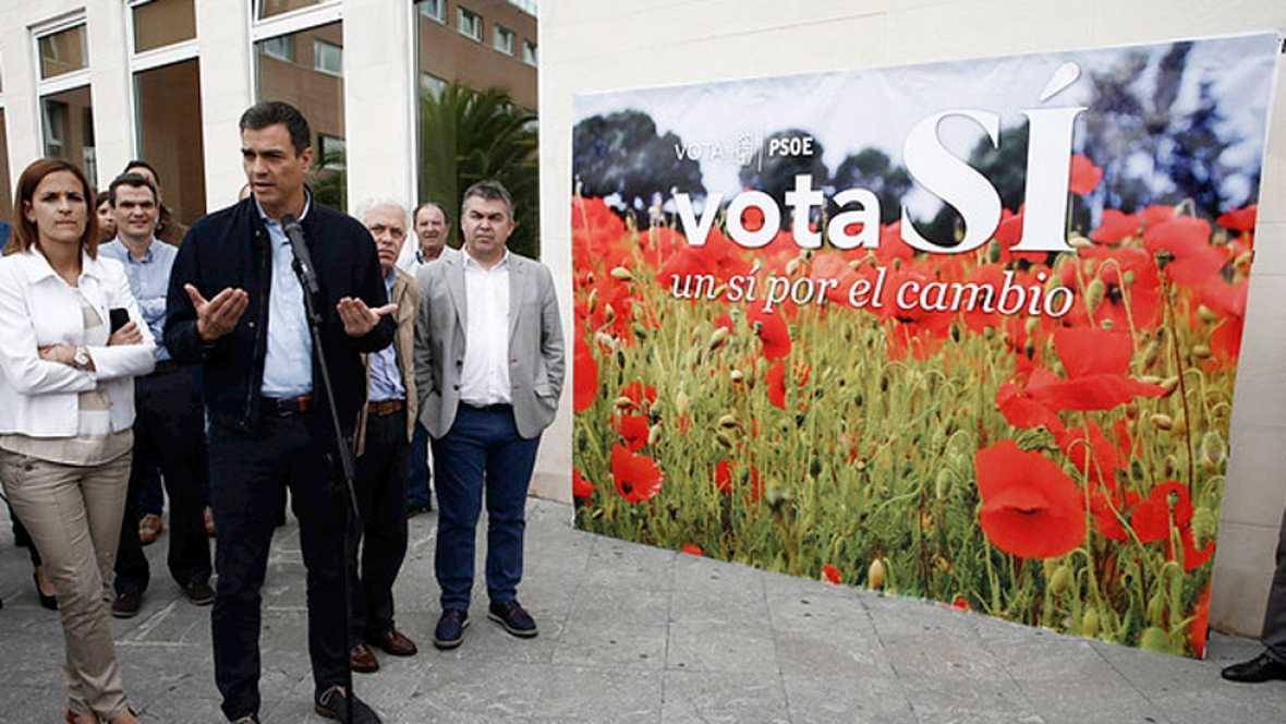 El candidato socialista. Pedro Sánchez ha visitado Pamplona y Logroño donde ha insistido en que sólo hay un camino para el cambio