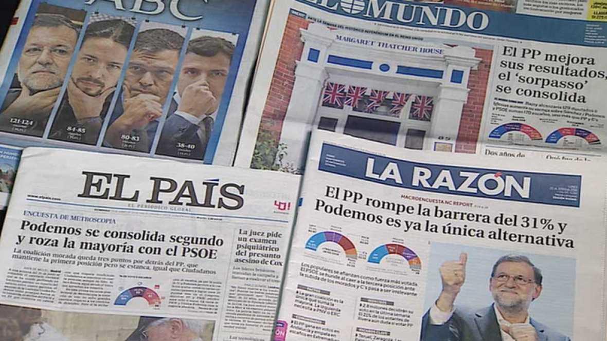 Las encuestas coinciden en que el PP ganará las elecciones y Unidos Podemos se afianza como segunda fuerza