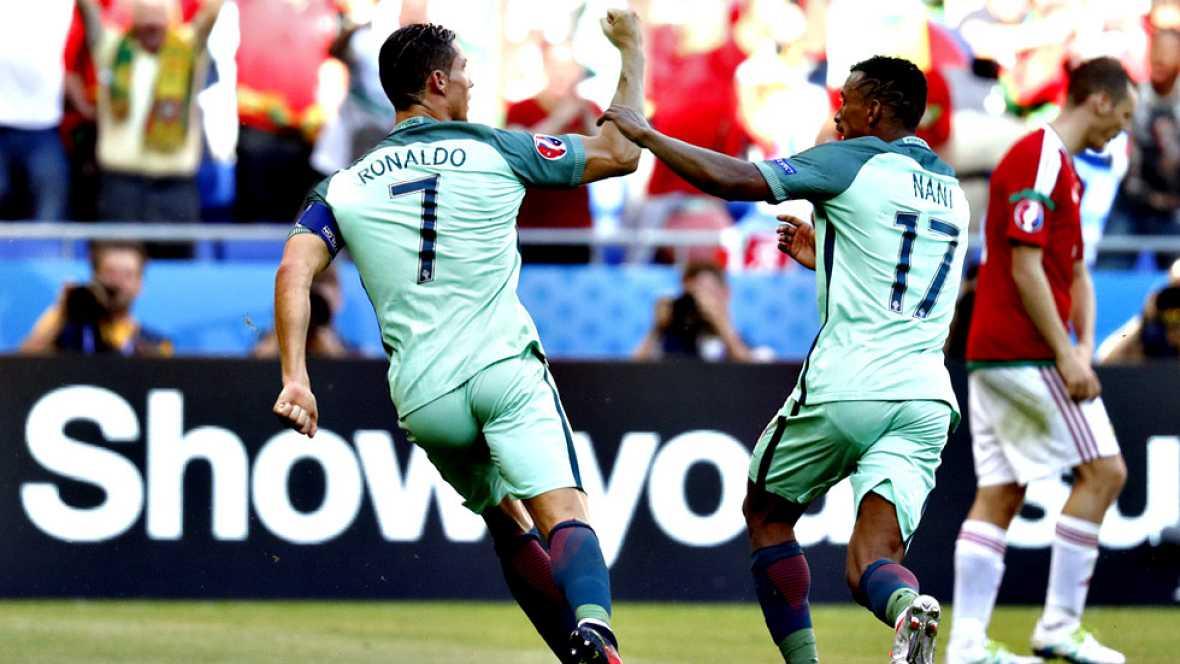 Gracias al despertar goleador de Cristiano Ronaldo, autor de dos goles, la selección portuguesa se aseguró su pase a octavos de final de la Eurocopa pero tras llevarse un sofocón al obtener un sufrido empate con una sorprendente Hungría en un partido