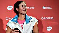 """La tenista hispano-venezolana Garbi�e Muguruza se tuvo que retirar del torneo de Montreal (Canad�), de categor�a Premier 5 de la WTA, por culpa de un problema estomacal que le impidi� saltar a la pista ante la brit�nica Naomi Broady. """"Estoy muy decep"""