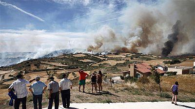 Estabilizan el incendio de Tafalla, en Navarra