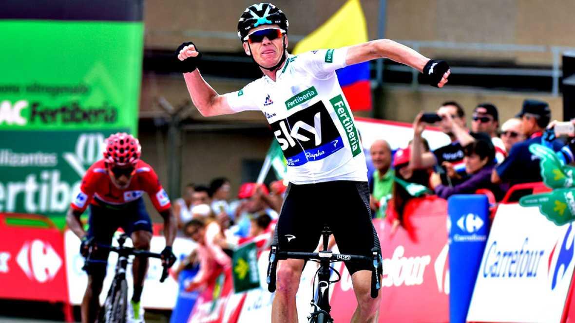 El británico Chris Froome (Sky) se ha impuesto en la undécima etapa de la Vuelta a España disputada entre Colunga y Peña Cabarga, de 168,6 kilómetros, en la que Nairo Quintana (Movistar) retuvo el maillot rojo. En un duelo estelar entre Froome y Quin