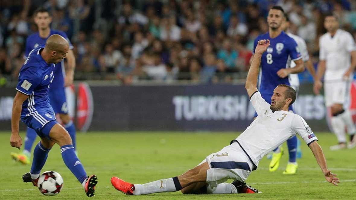 Italia vence 3-1 a Israel pero pierde a Chiellini para jugar contra España