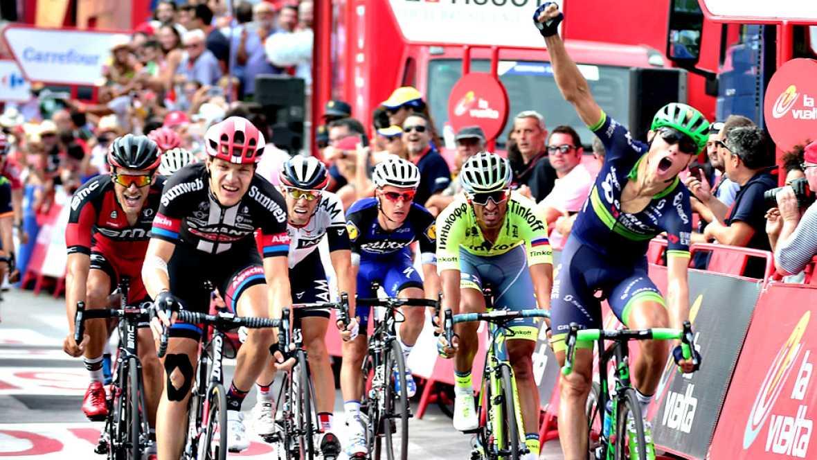El ciclista danés Magnus Cort Nielsen (Orica-BikeExchange) se ha impuesto este jueves en la decimoctava etapa de la Vuelta a España, disputada entre Requena y Gandía sobre 200,6 kilómetros, en un peleado sprint donde varios velocistas se metieron en
