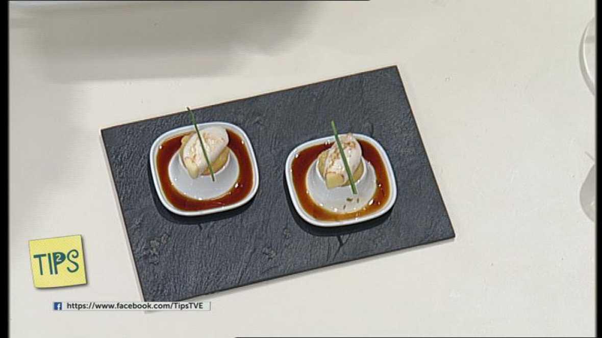 TIPS - Recetas - Chipirones con soja sobre una crema de hinojo