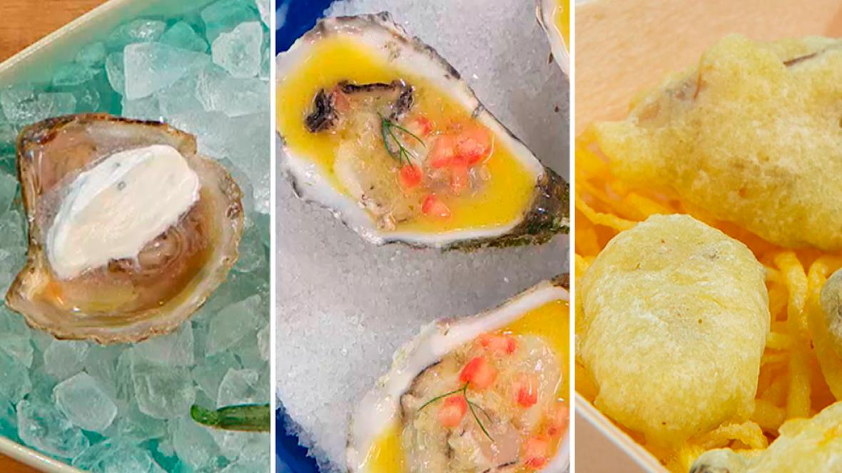 Ostras con crema de raifort y lima, ostrones en tempura y ostras al cava