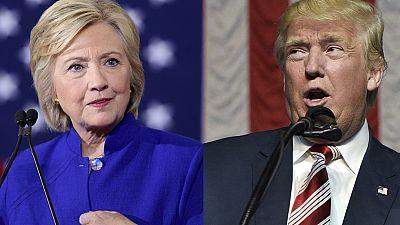 Clinton y Trump llegan casi empatados al primer debate del lunes