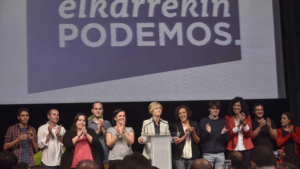 """La candidata a lehendakari por Elkarrekin Podemos, Pilar Zabala, ha valorado muy positivamente los once escaños conseguidos en las elecciones autonómicas vascas por su grupo político. """"Tenemos gran fuerza, un gran ánimo, y miramos al futuro con esper"""