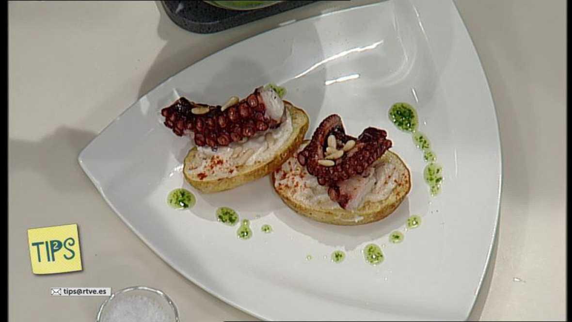 TIPS - Cocina - Pulpo a la plancha sobre zócalo de patatas al alioli
