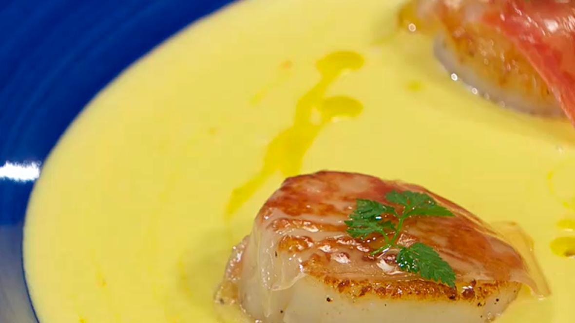 Receta de crema de puerro jengibre y vieiras for Cocinar vieiras