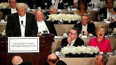Donald Trump y Hillary Clinton dan fin a la campaña en una cena benéfica en Nueva York