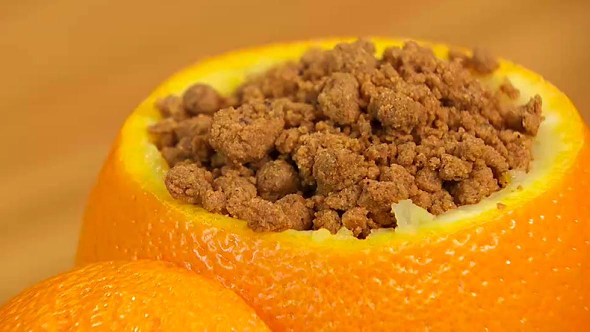 Receta de plátano, naranja y migas de Gofio