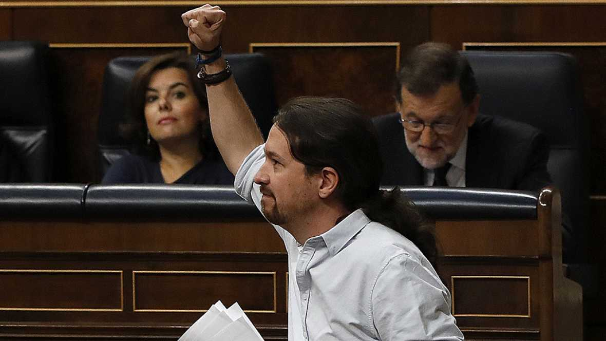 """Debate de investidura: Pablo Iglesias recomienda a los diputados del PP """"que se callen"""" cuando se hable de """"delincuentes"""" en el Congreso"""