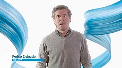 El ciclista Perico Delgado felicita a TVE en su 60º aniversario
