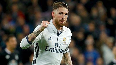 Ramos, feliz tras marcar al Deportivo