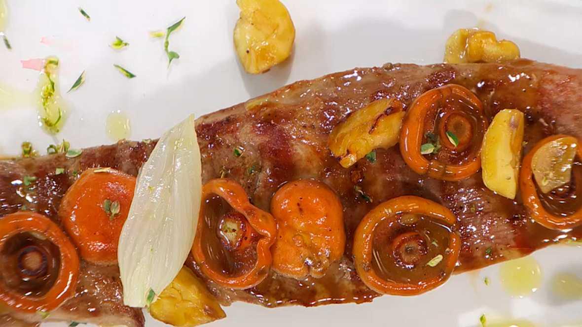 Receta de solomillo de cerdo con hongos y casta as for Cocinar solomillo de ternera