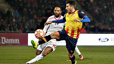 La selección de Catalunya ha empatado este miércoles en un  entretenido partido contra Túnez (3-3), aunque el equipo africano se  ha acabado llevando la victoria tras adjudicarse la tanda de penaltis  en el amistoso disputado en el estadio de Montili