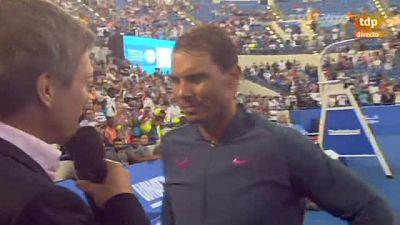 """El tenista español Rafael Nadal, campeón del torneo de exhibición de Abu Dabi, aseguró este sábado que los tres partidos que ganó en el torneo jugando a buen nivel, le vendrán """"muy bien"""" para el resto de la temporada."""