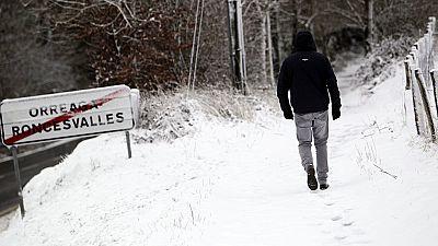 El temporal inunda de nieve el paso de los peregrinos por Roncesvalles